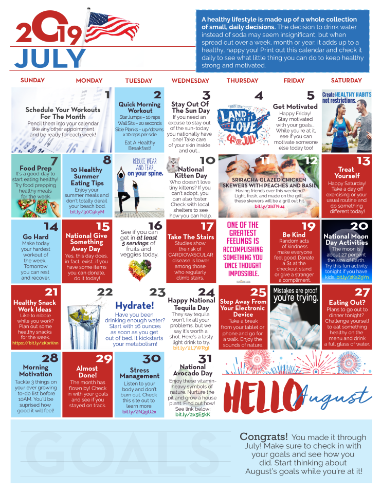 Download your July Health and Wellness calendar.
